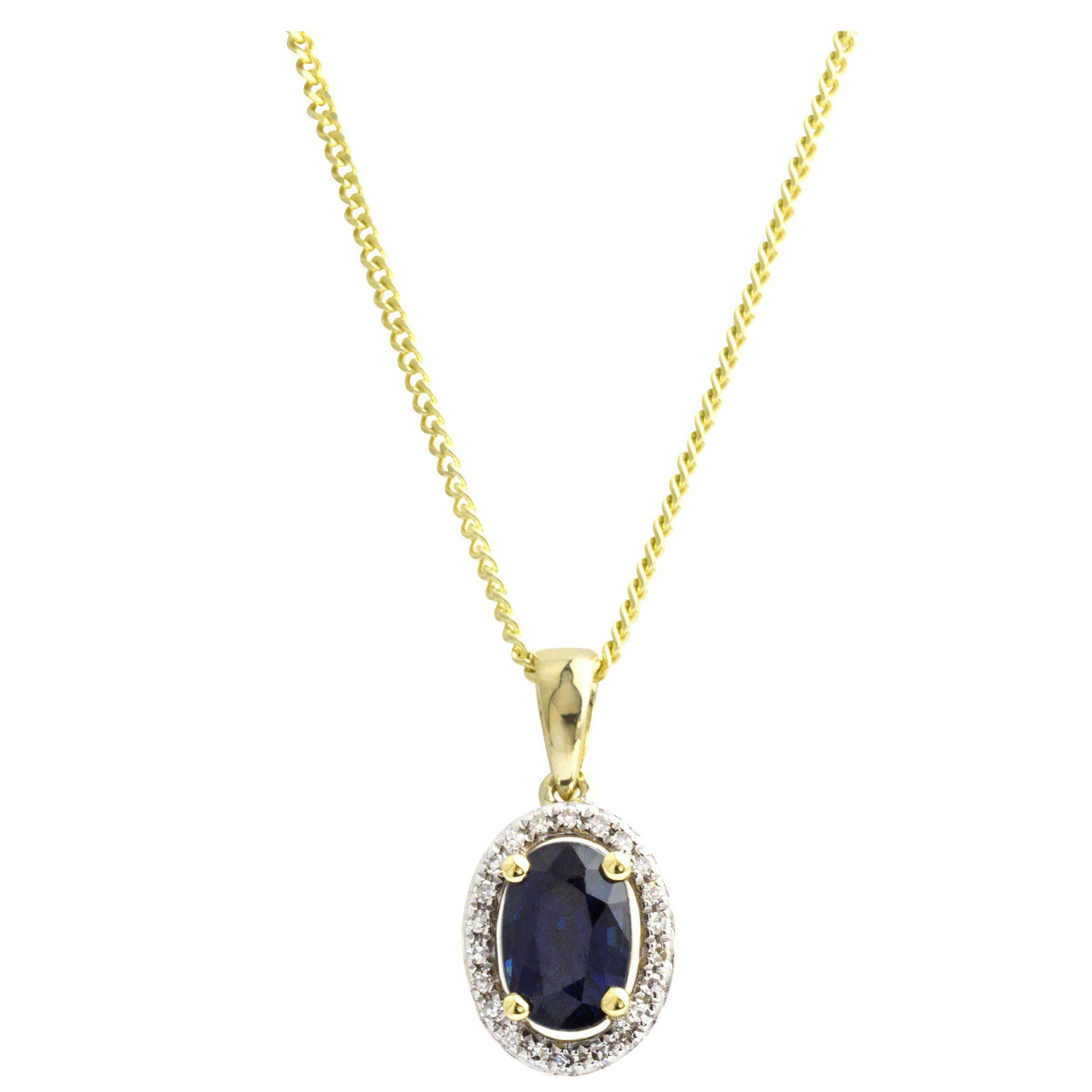 A B Davis A B Davis 9ct Gold Diamond Surround Oval Pendant Necklace, Sapphire