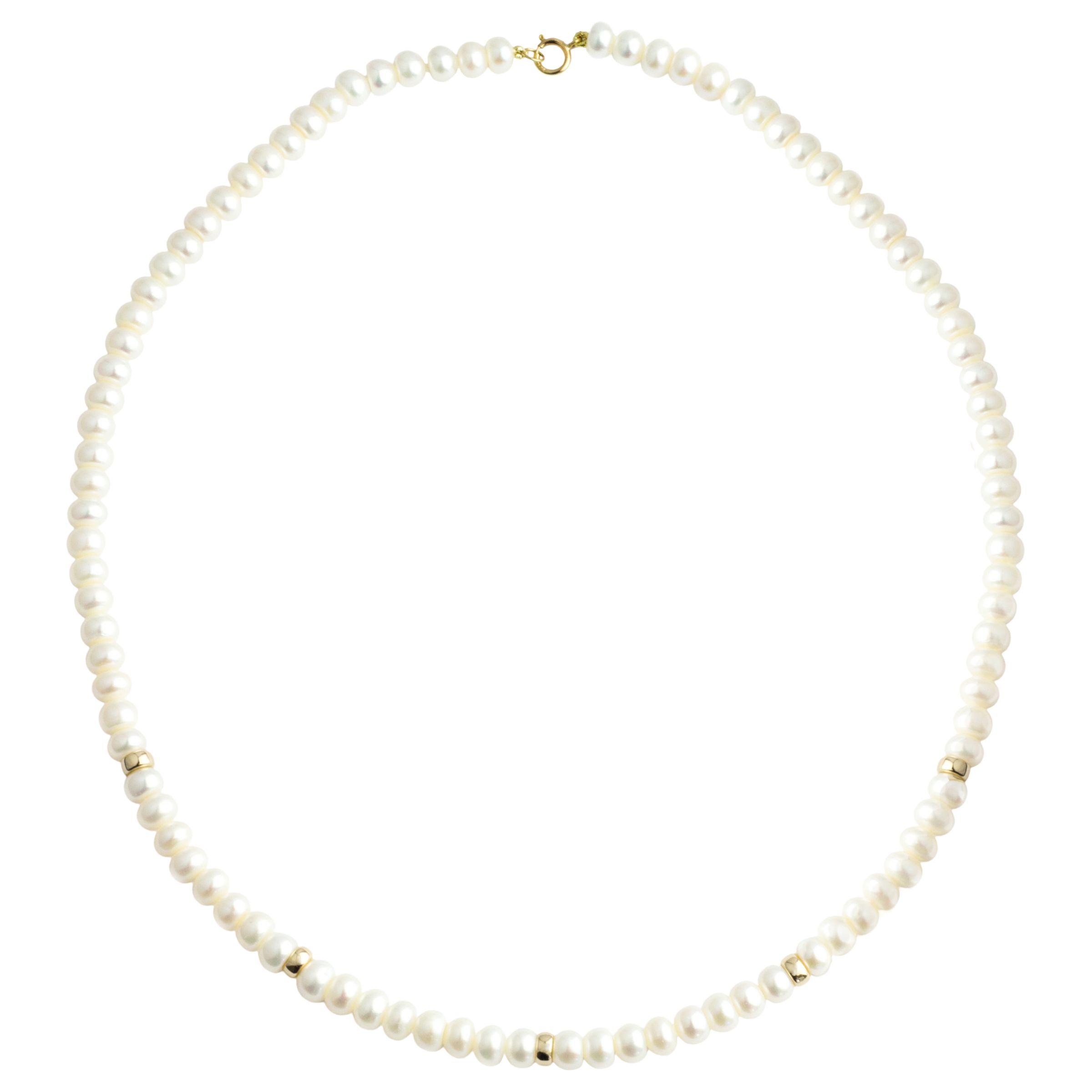 A B Davis A B Davis 9ct Gold Rondelles Pearl Necklace, White