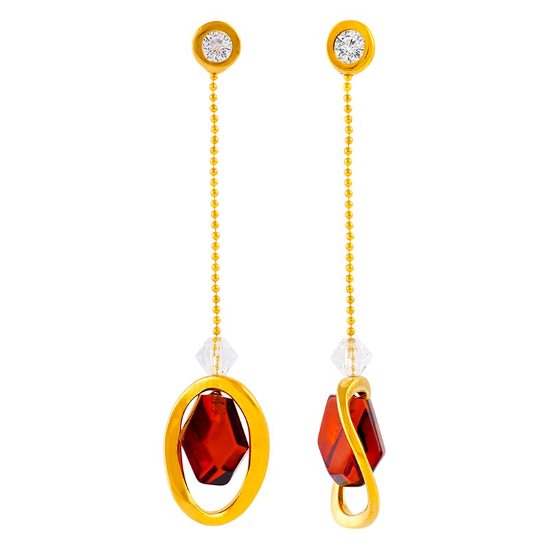 Be-Jewelled Be-Jewelled Amber and Cubic Zirconia Chain Drop Earrings, Gold