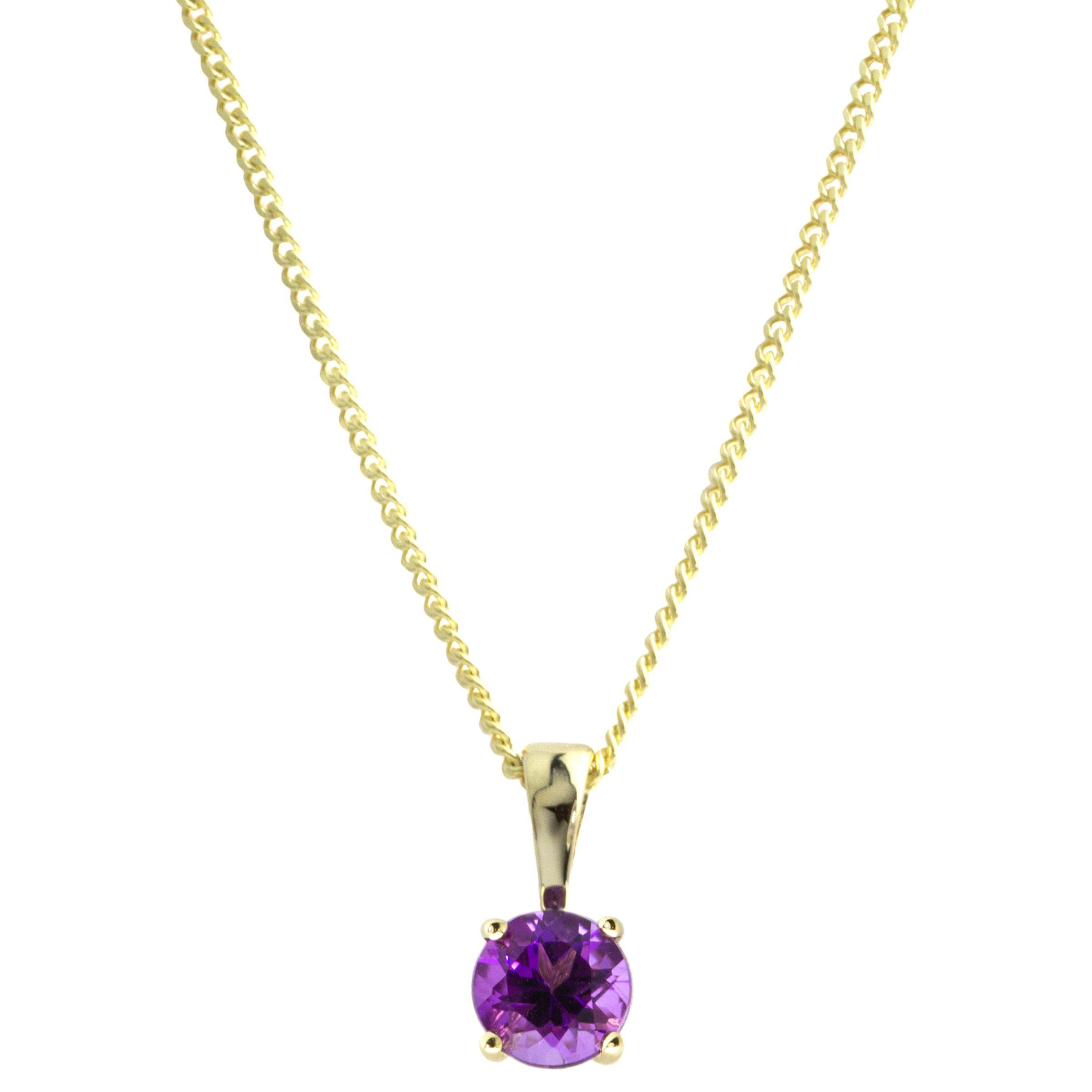 A B Davis A B Davis 9ct Gold Round Amethyst Pendant Necklace, Purple