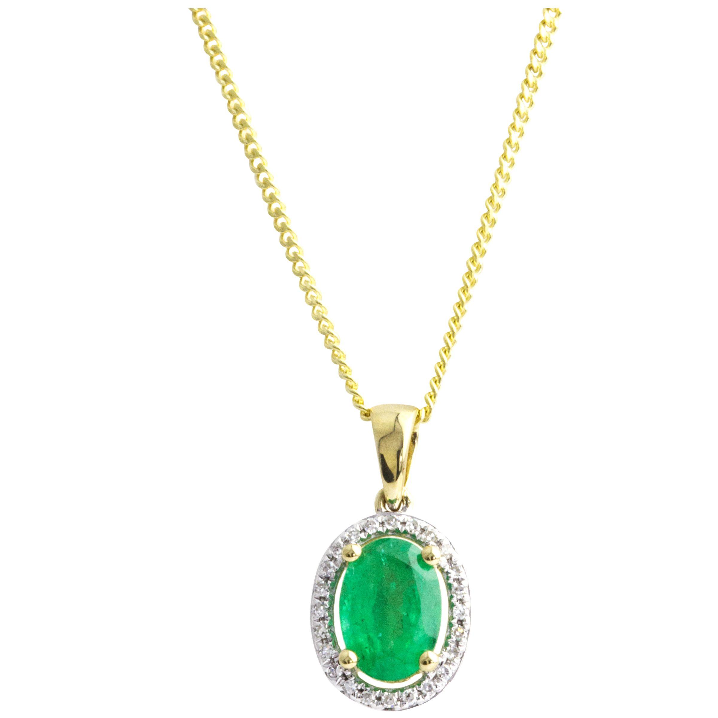 A B Davis A B Davis 9ct Gold Emerald and Diamond Oval Pendant Necklace