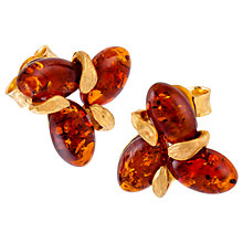 Buy Be-Jewelled Sterling Silver Amber Flower Stud Earrings, Silver/Cognac Online at johnlewis.com
