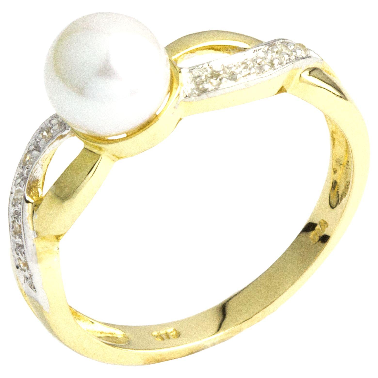 A B Davis A B Davis 9ct Gold Double Twist Diamond and Pearl Ring, Gold/White