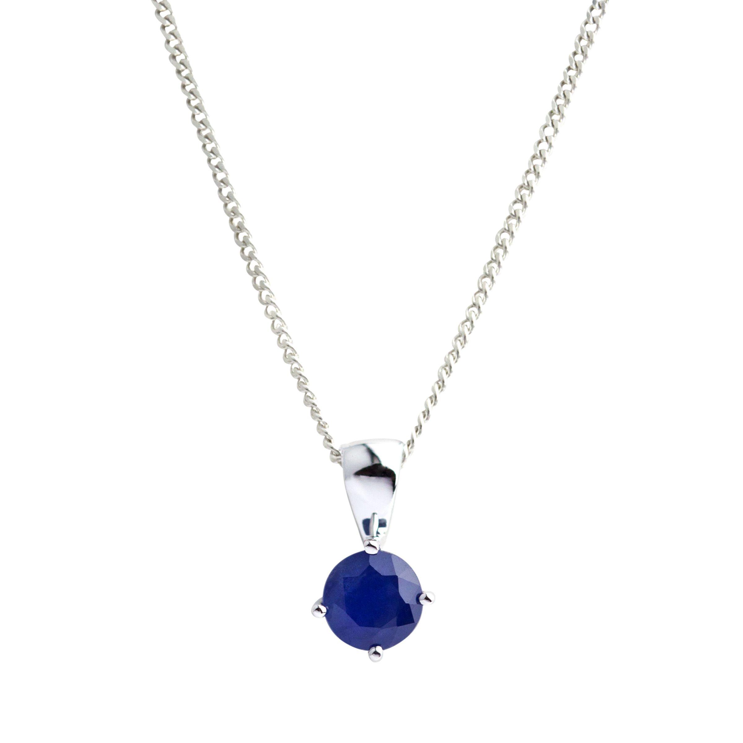 A B Davis A B Davis 9ct White Gold Round Sapphire Pendant Necklace