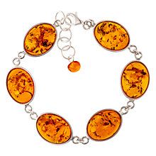 Buy Be-Jewelled Sterling Silver Oval Amber Chain Bracelet, Cognac Online at johnlewis.com