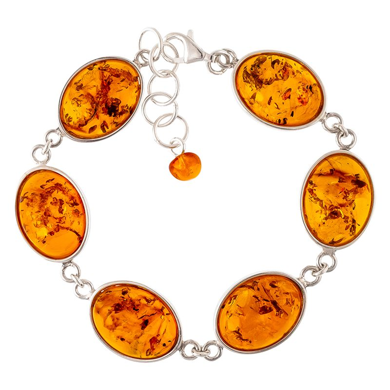Be-Jewelled Be-Jewelled Sterling Silver Oval Amber Chain Bracelet, Cognac