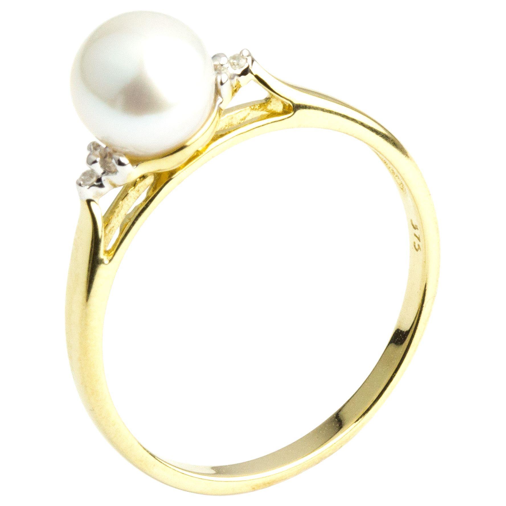 A B Davis A B Davis 9ct Gold Pearl and Diamond Ring, Gold/White