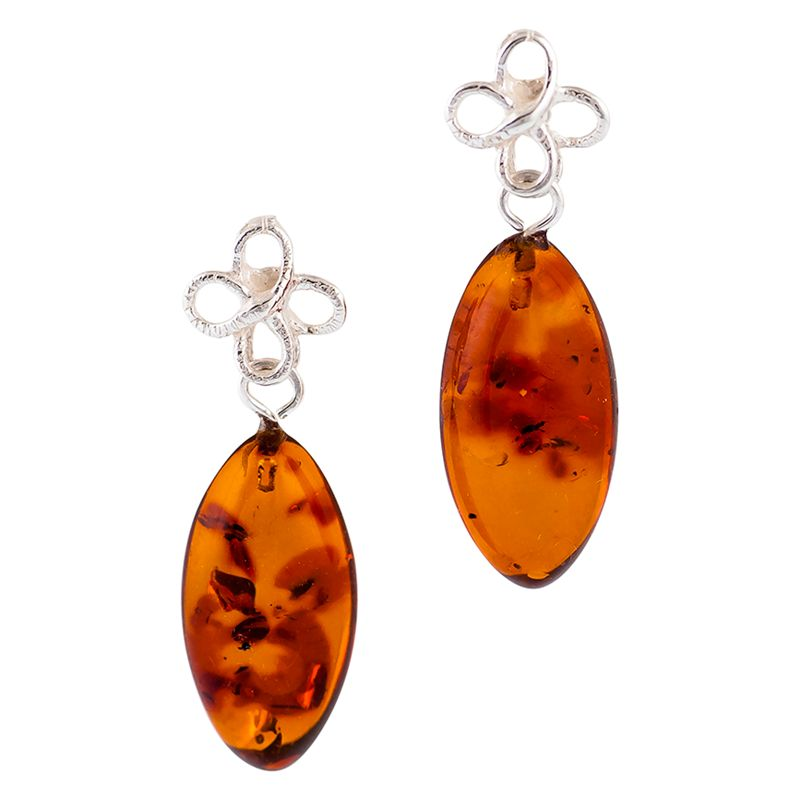Be-Jewelled Be-Jewelled Sterling Silver Bow Amber Drop Earrings, Cognac