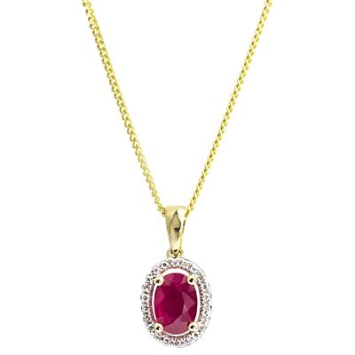 A B Davis 9c Gold Ruby and Diamond Oval Pendant Necklace, Red
