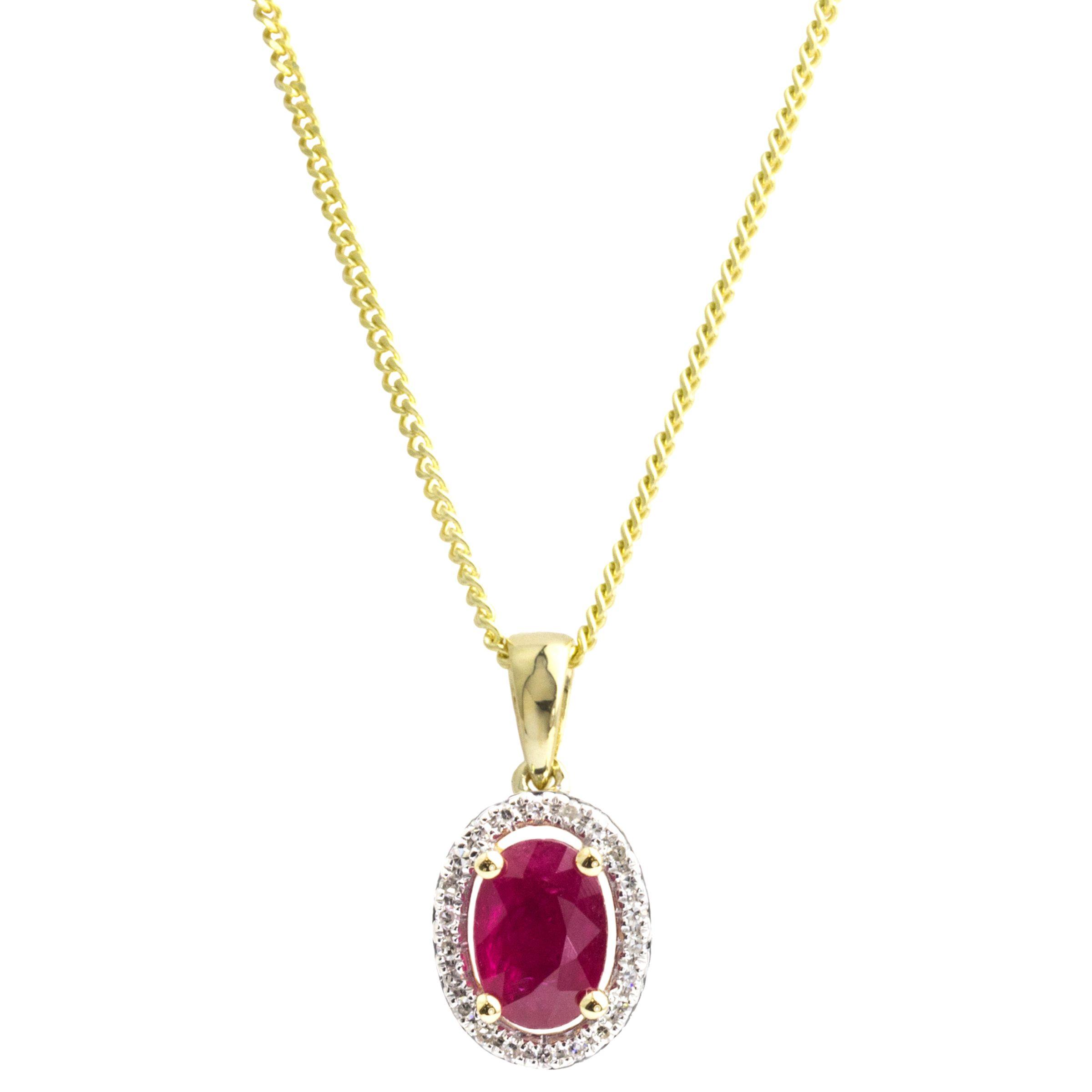 A B Davis A B Davis 9ct Gold Ruby and Diamond Oval Pendant Necklace