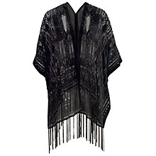 Buy Chesca Velvet Burnout Kimono, Black Online at johnlewis.com