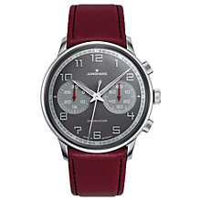 Buy Junghans 027/3685.00 Men's Meister Driver Chronoscope Leather Strap Watch, Burgundy/Charcoal Online at johnlewis.com
