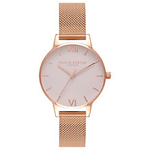 Buy Olivia Burton OB16MD75 Women's Blush Dial Mesh Bracelet Strap Watch, Rose Gold/Blush Online at johnlewis.com