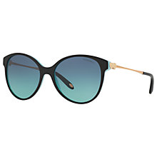 Buy Tiffany & Co TF4127 Oval Sunglasses, Black/Blue Gradient Online at johnlewis.com