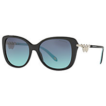 Buy Tiffany & Co TF4129 Polarised Rectangular Sunglasses, Matte Black/Blue Gradient Online at johnlewis.com