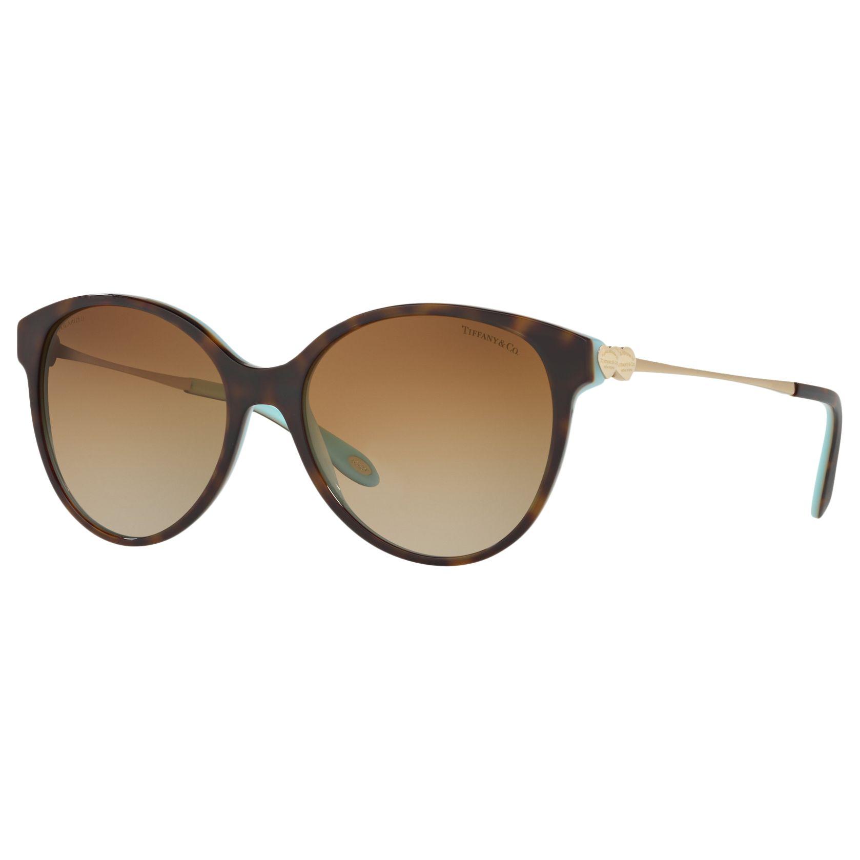 Tiffany & Co Tiffany & Co TF4127 Polarised Oval Sunglasses, Tortoise/Brown Gradient