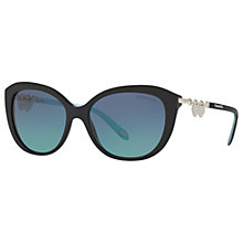 Buy Tiffany & Co TF4130 Cat's Eye Sunglasses, Matte Black/Blue Gradient Online at johnlewis.com