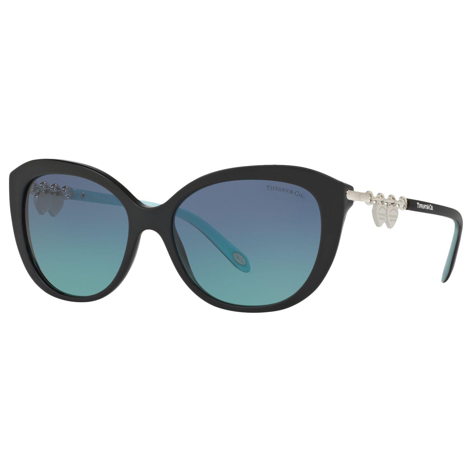 Tiffany & Co Tiffany & Co TF4130 Cat's Eye Sunglasses, Matte Black/Blue Gradient