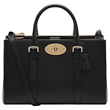 Buy Mulberry Bayswater Small Double Zip Tote Bag, Black Online at johnlewis.com