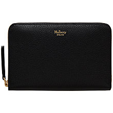 Buy Mulberry Medium Leather Zip Around Purse, Black Online at johnlewis.com