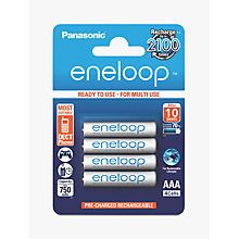 Buy Panasonic Eneloop Pre-Charged Rechargeable AAA Batteries, Pack of 4 Online at johnlewis.com