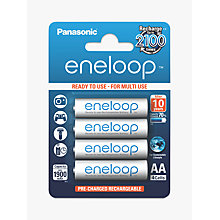 Buy Panasonic Eneloop Pre-Charged Rechargeable AA Batteries, Pack of 4 Online at johnlewis.com