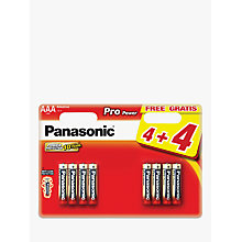 Buy Panasonic Pro Power Alkaline AAA Batteries, Pack of 4 + 4 for Free Online at johnlewis.com