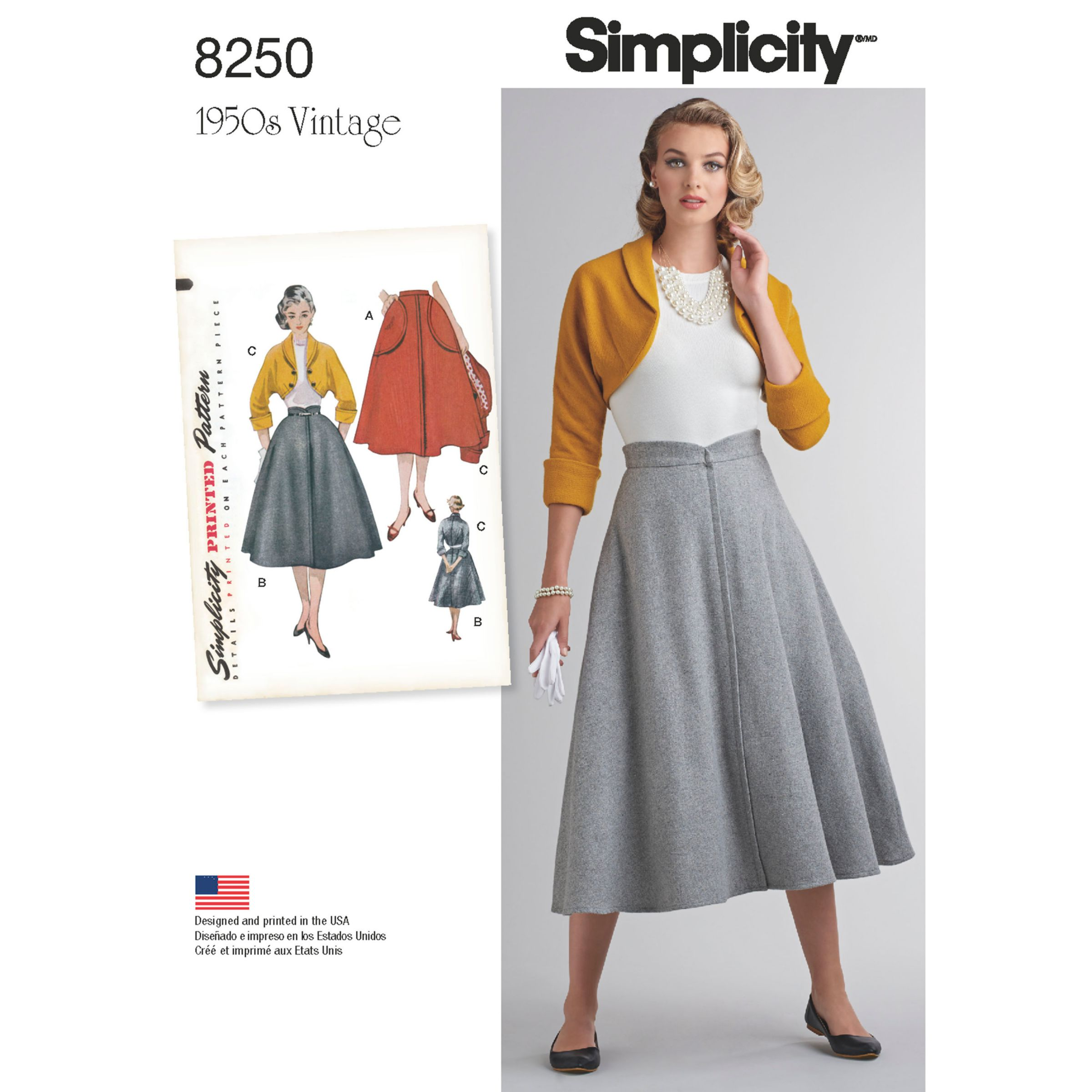 Simplicity Simplicity Misses' Women's Vintage 1950's Skirt and Bolero Sewing Pattern, 8250