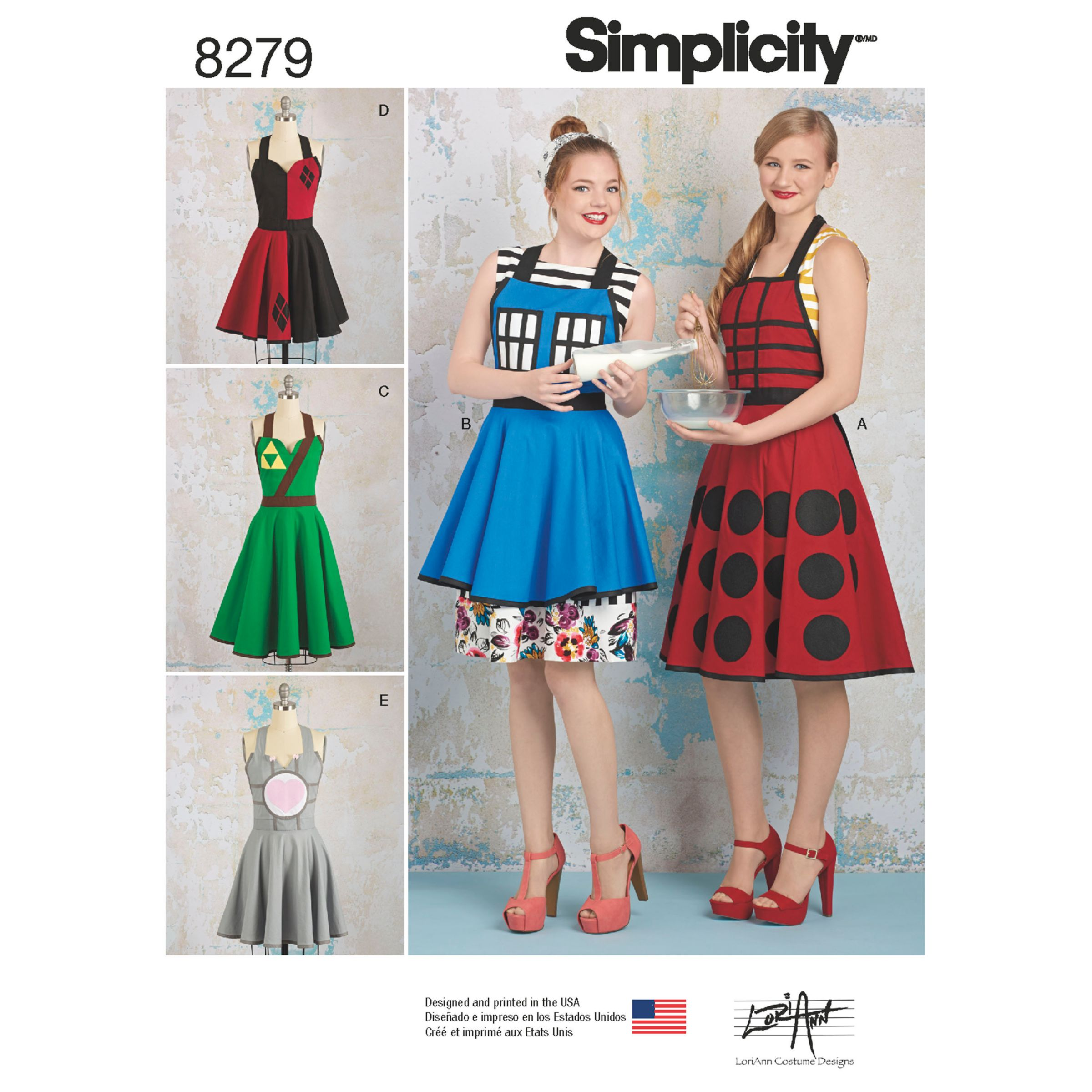 Simplicity Simplicity Unisex Aprons from Lori Ann Costume Designs Sewing Pattern, 8279, A
