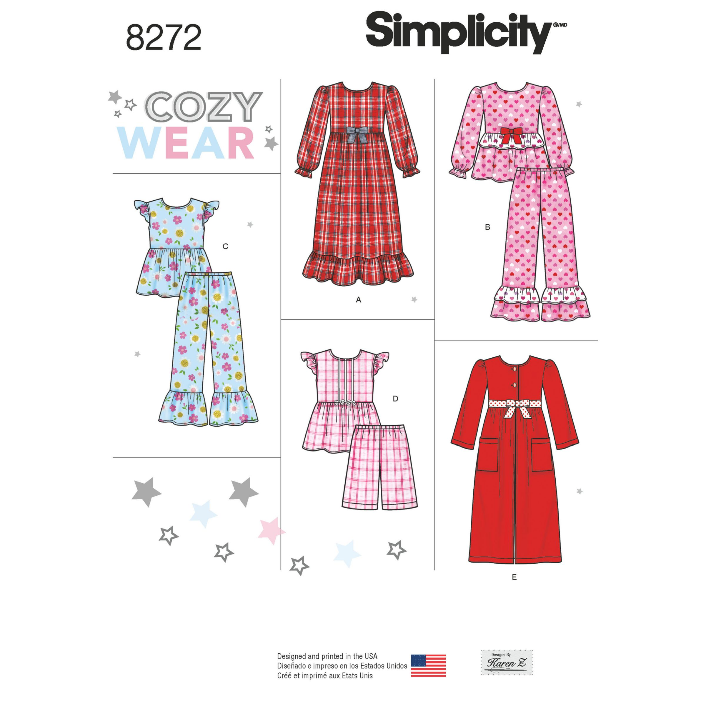 Simplicity Simplicity Children's Sleepwear and Robe Sewing Pattern, 8272