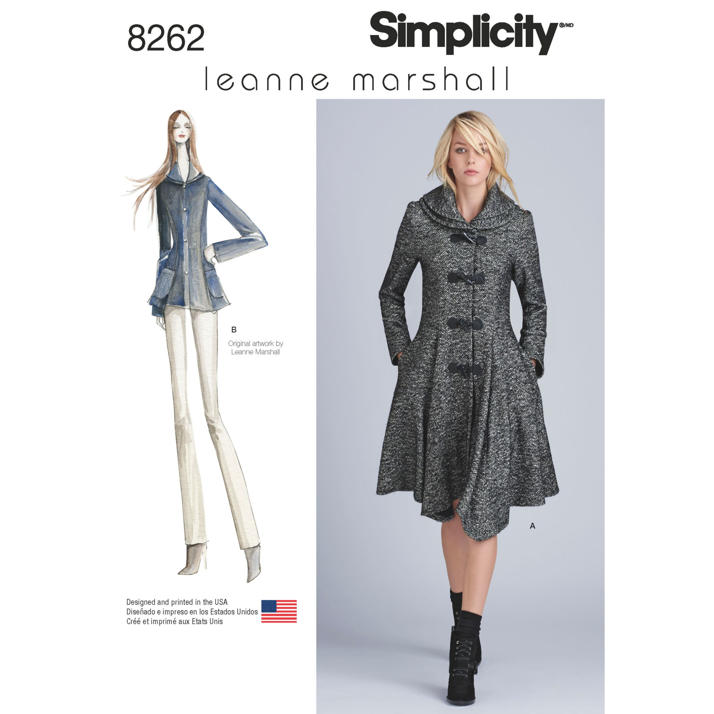 Simplicity Simplicity Misses' Women's Leanne Marshall Coat and Jacket Sewing Pattern, 8262