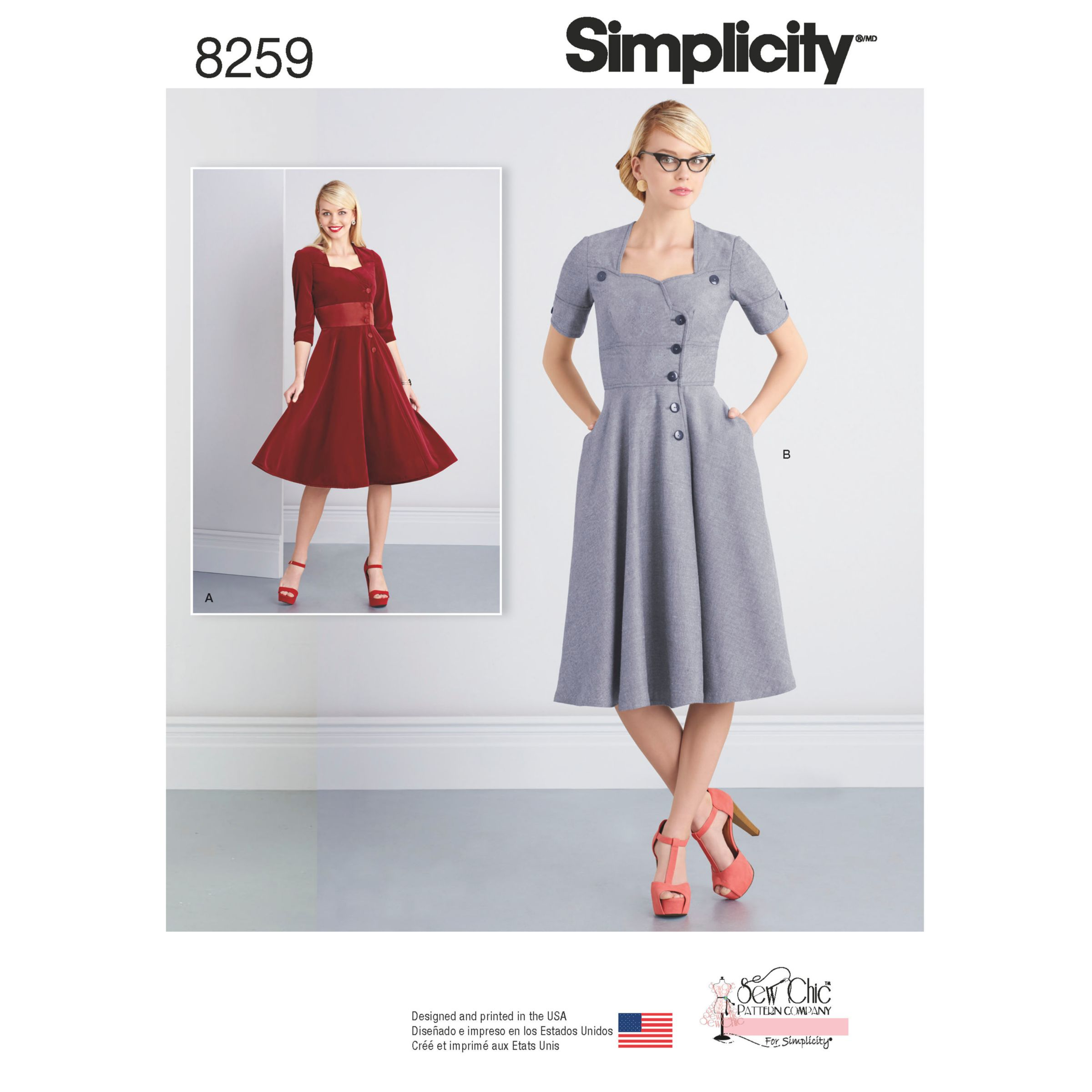 Simplicity Simplicity Misses' Sew Chic Button Front Dresses Sewing Pattern, 8259