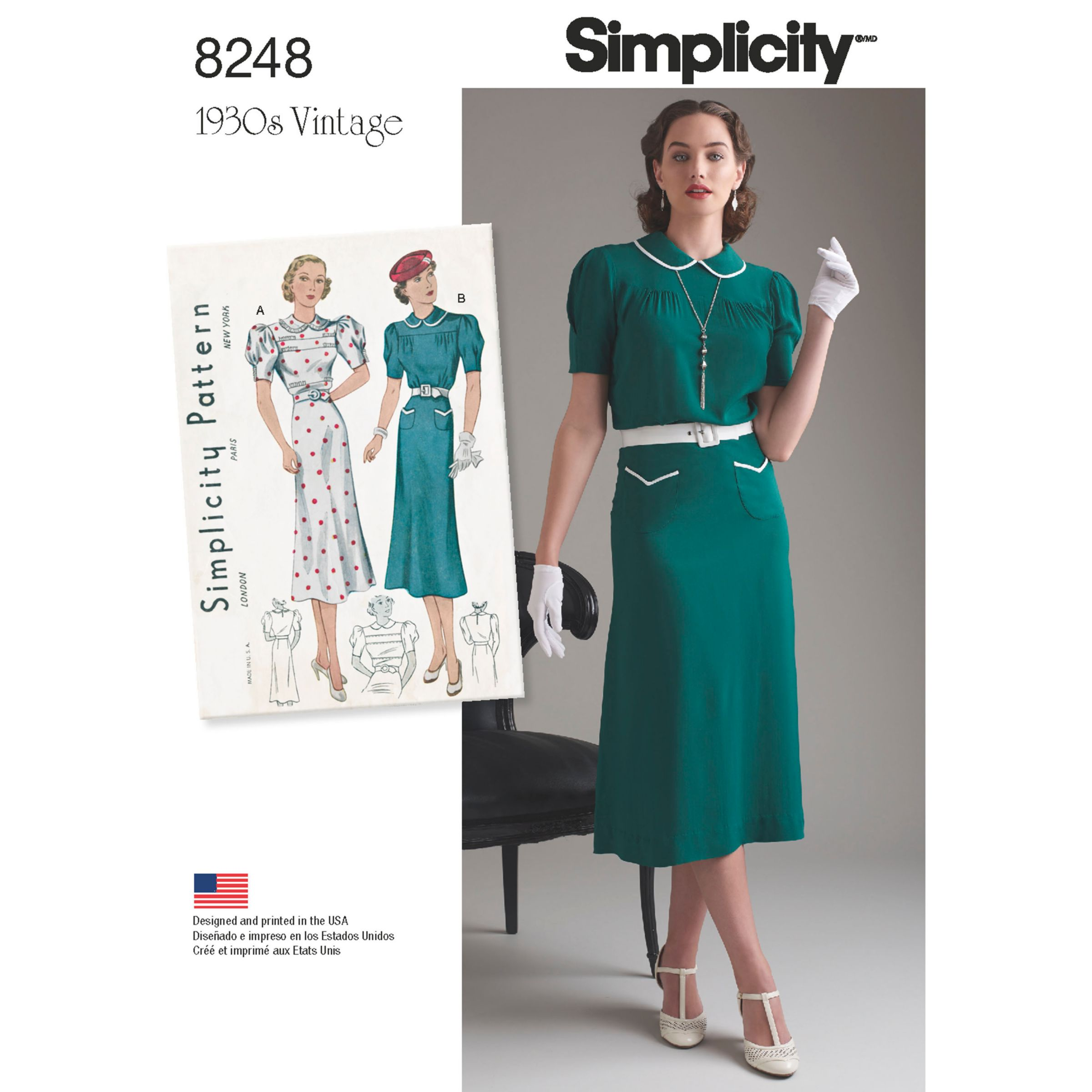 Simplicity Simplicity Women's 1930s Dresses Sewing Pattern, 8248