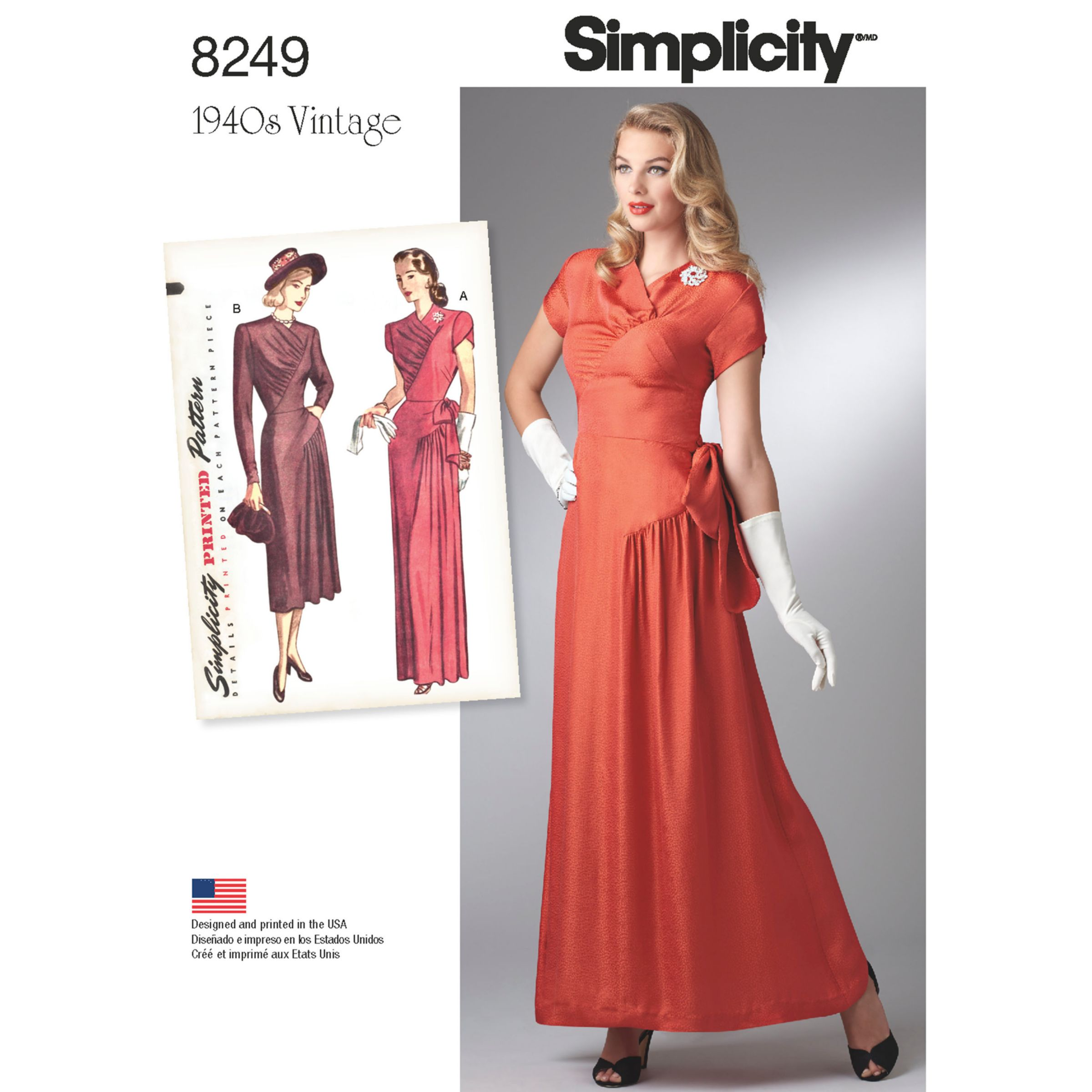 Simplicity Simplicity Vintage Women's 1940s Gown and Dress Sewing Pattern, 8249