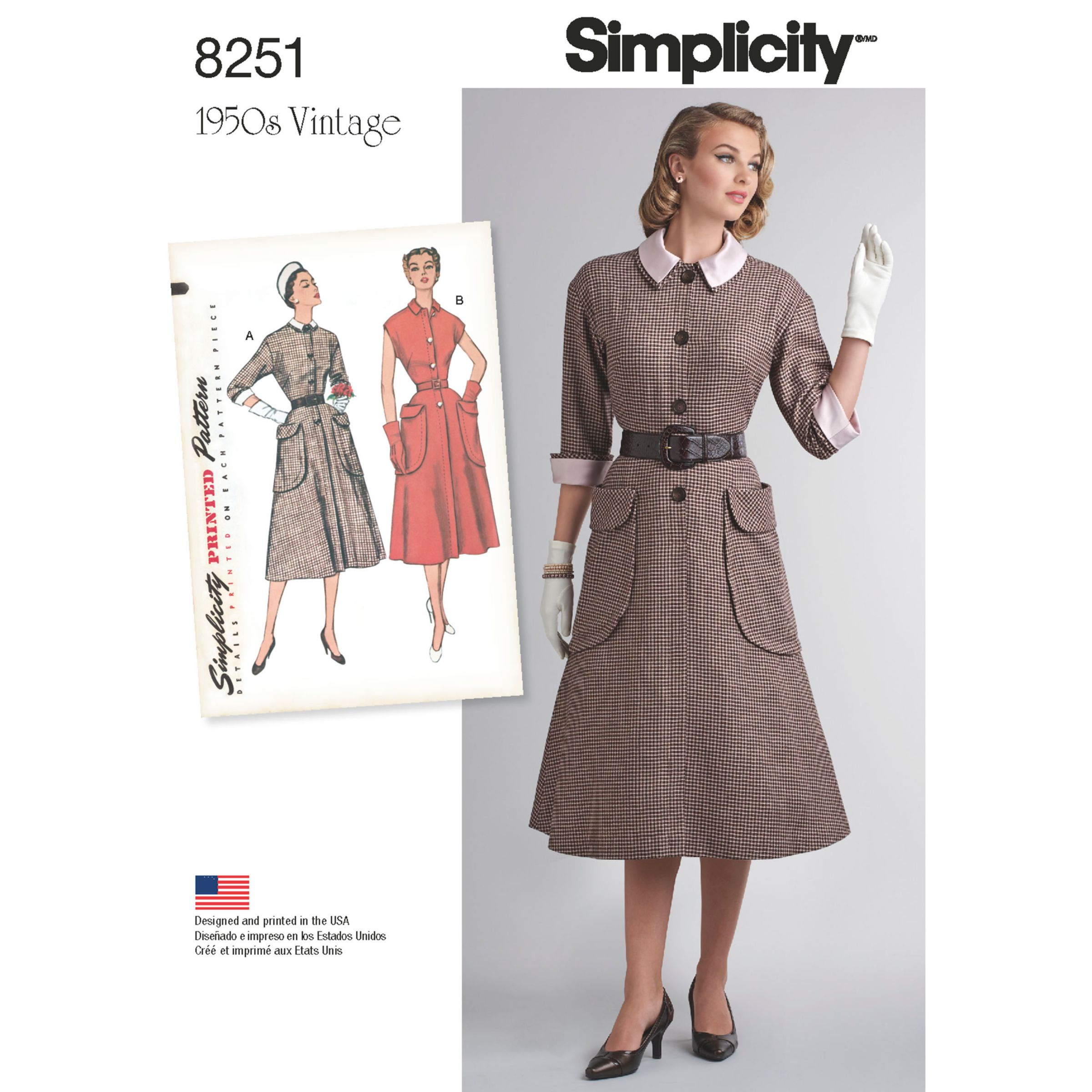 Simplicity Simplicity Vintage Women's 1950s One-Piece Dresses Sewing Pattern, 8251