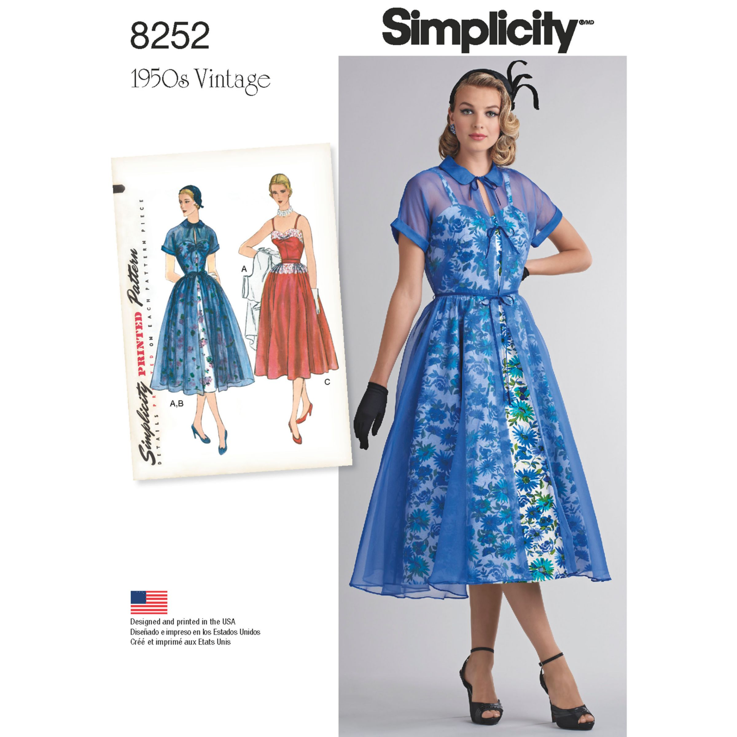 Simplicity Simplicity Vintage Women's 1950s Dress and Redingote Sewing Pattern, 8252