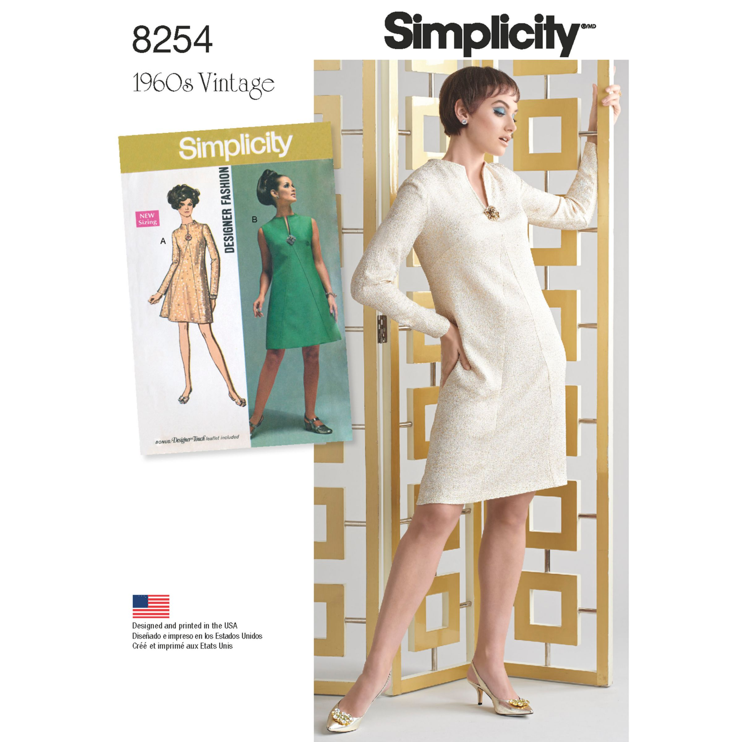 Simplicity Simplicity Vintage Women's and Plus Size 1960s Dresses Sewing Pattern, 8254