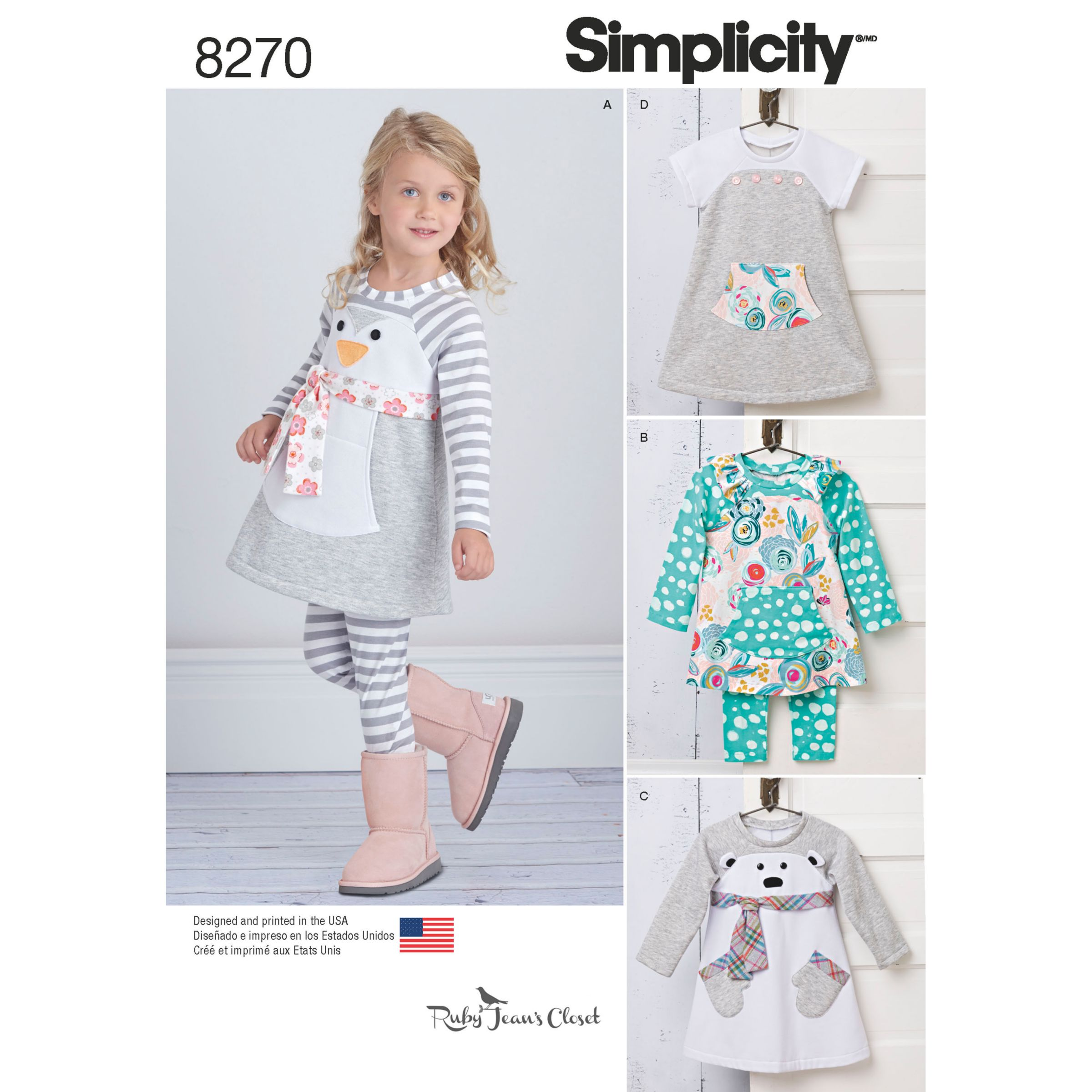 Simplicity Simplicity Children's Outfits from Ruby Jean's Closet Sewing Pattern, 8270, A