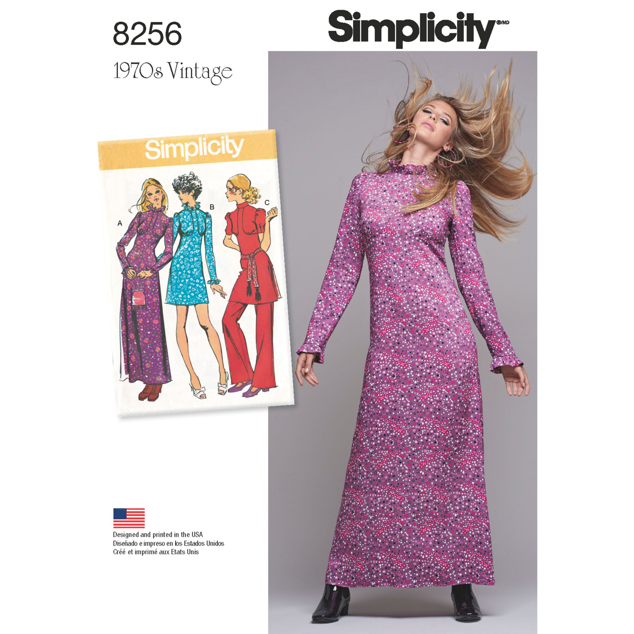 Simplicity Simplicity Vintage Women's 1970s Dresses Sewing Pattern, 8256