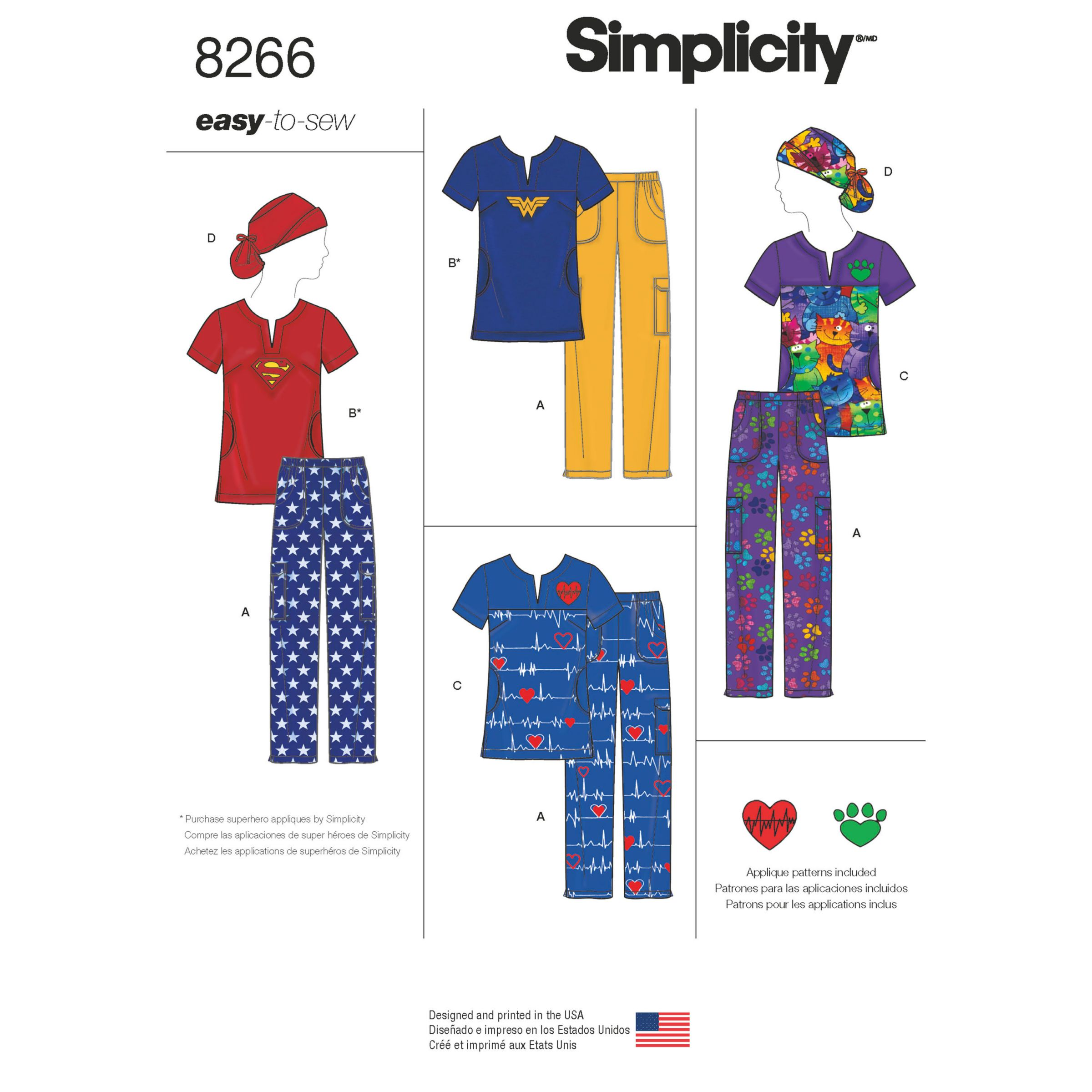 Simplicity Simplicity Misses' Easy to Sew Scrubs and Loungewear Sewing Pattern, 8266