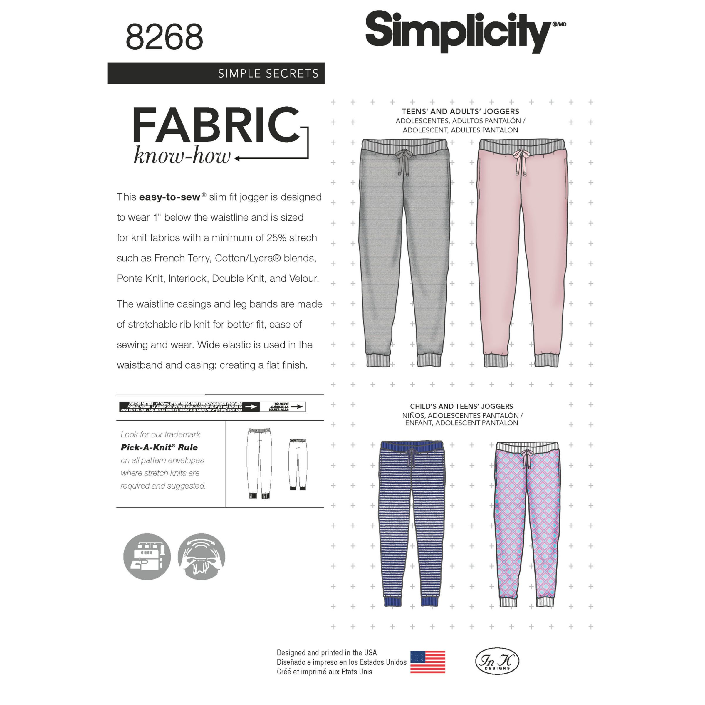 Simplicity Simplicity Unisex Slim Fit Knit Joggers Sewing Pattern, 8268, A