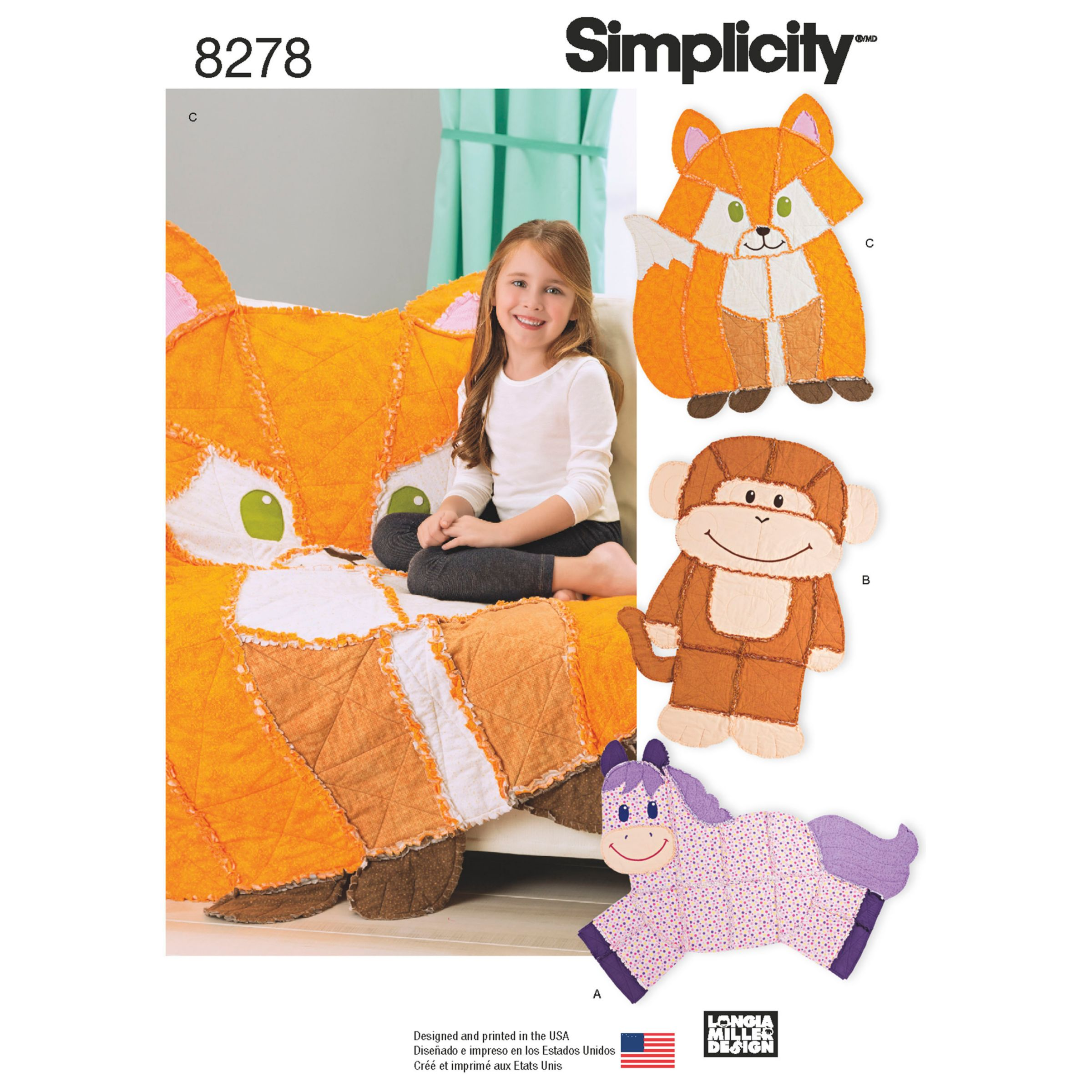 Simplicity Simplicity Animal Rag Quilts Sewing Pattern, 8278, OS