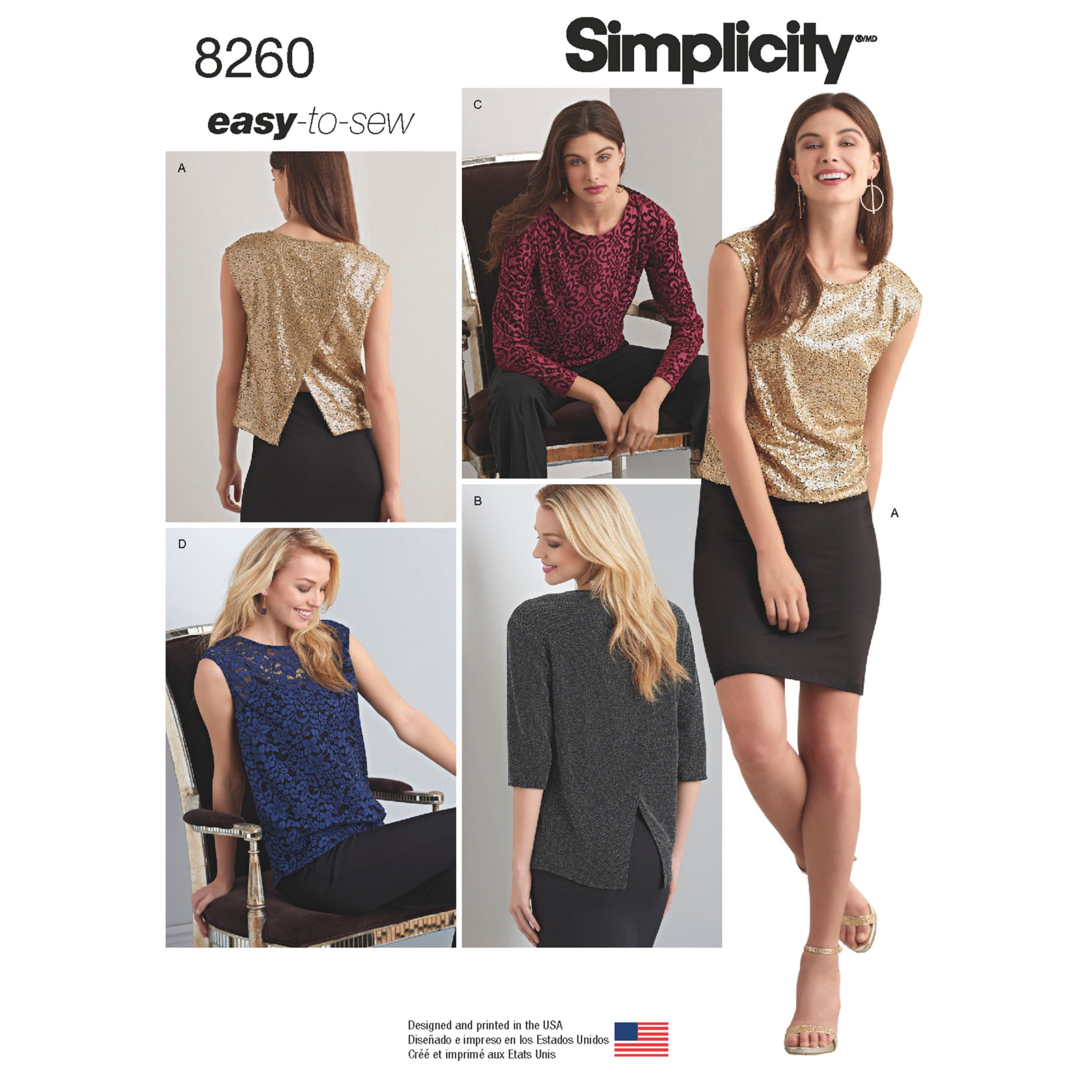 Simplicity Simplicity Easy to Sew Top with Asymmetric Back Sewing Pattern, 8260, A