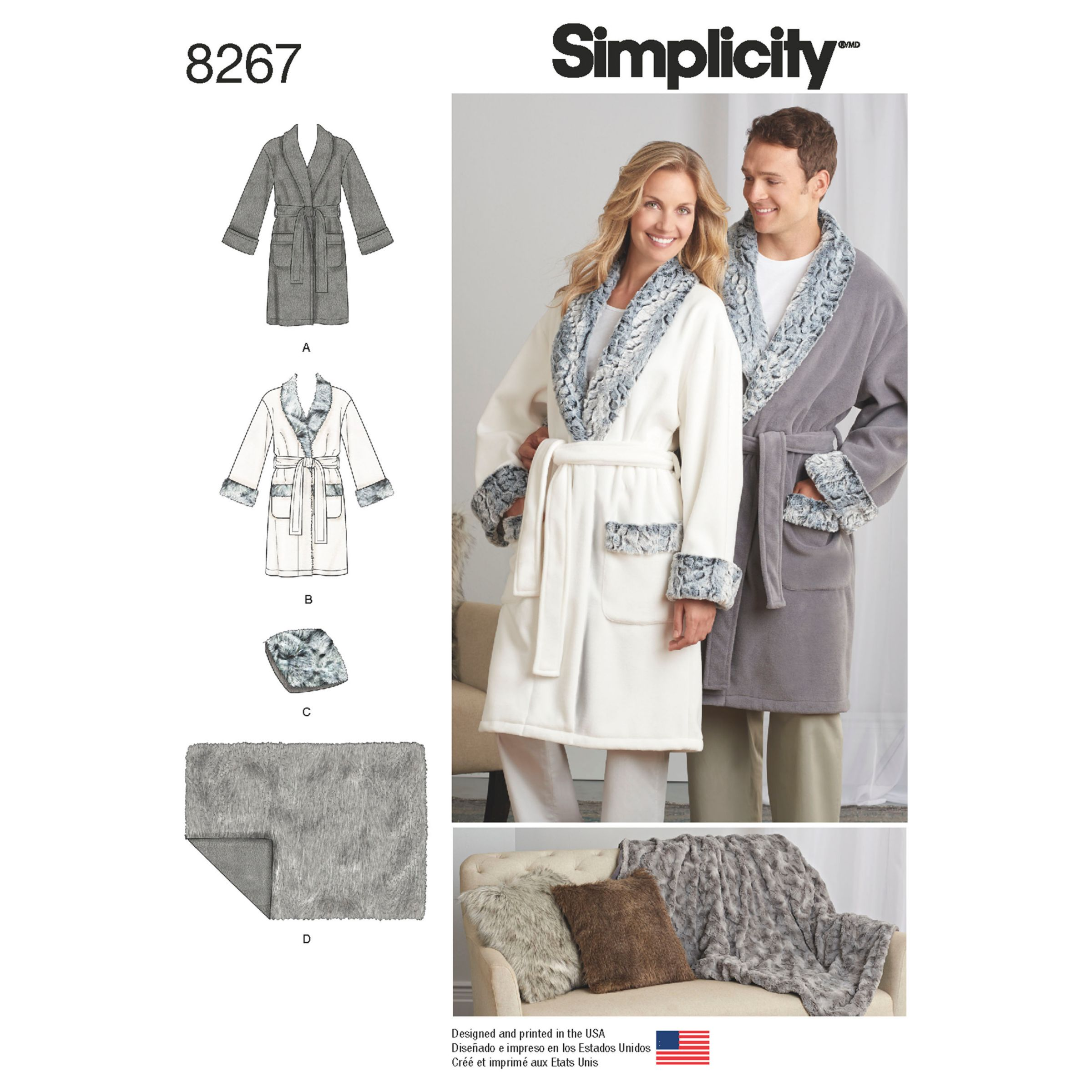 Simplicity Simplicity Unisex Robes, Loungewear and Sleepwear Sewing Pattern, 8267, A
