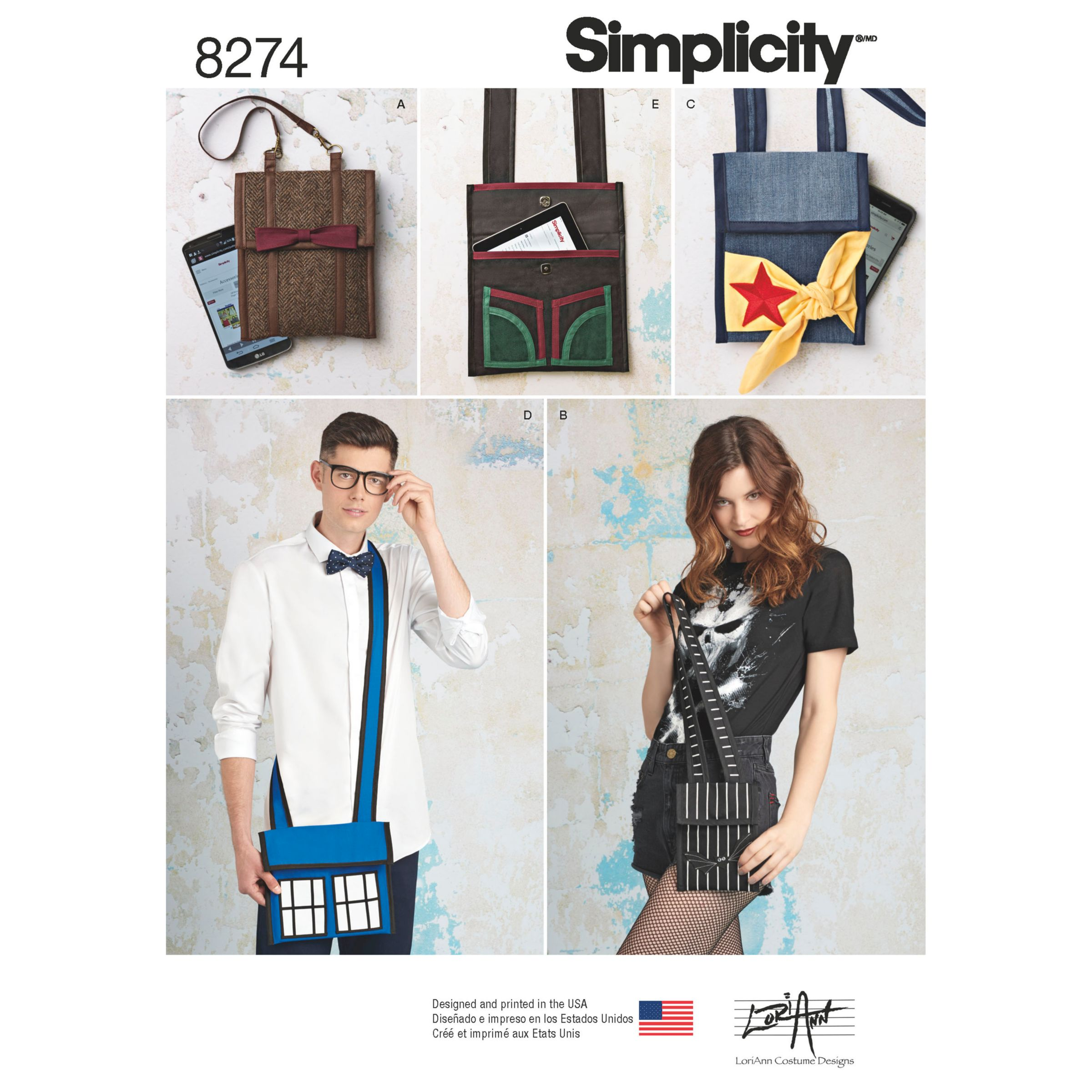 Simplicity Simplicity Character Inspired Bags from Lori Ann Costume Designs Sewing Pattern, 8274, OS