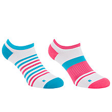 Buy John Lewis Sports Stripe Trainer Socks, Pack of 2, Neon Pink/Turquoise Online at johnlewis.com