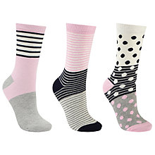Buy John Lewis Spot and Stripe Ankle Socks, Pack of 3, Multi Online at johnlewis.com