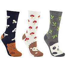 Buy John Lewis Animal Face Print Ankle Socks, Pack of 3, Multi Online at johnlewis.com