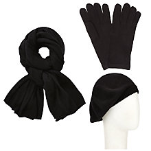 Buy John Lewis Plain Knit Scarf, Beret and Gloves Set, Black Online at johnlewis.com