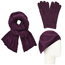 Buy John Lewis Plain Knit Scarf, Beret and Gloves Set, Purple Online at johnlewis.com
